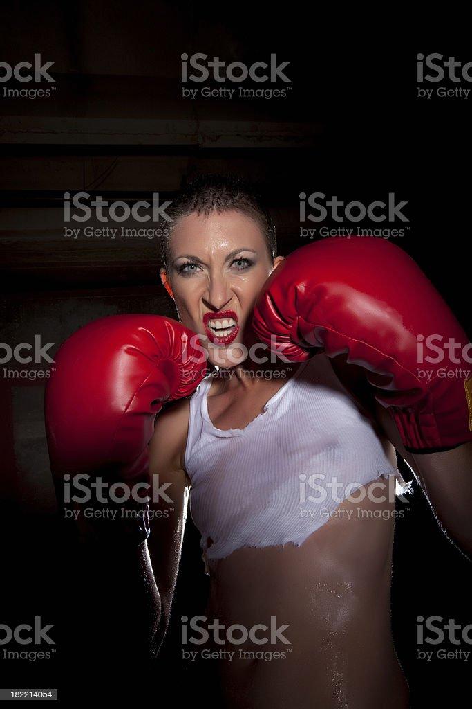 Woman boxer royalty-free stock photo