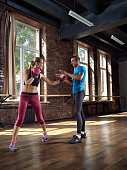 Woman boxing and exercising
