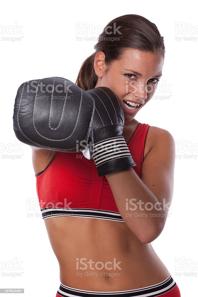 Woman boxing royalty-free stock photo