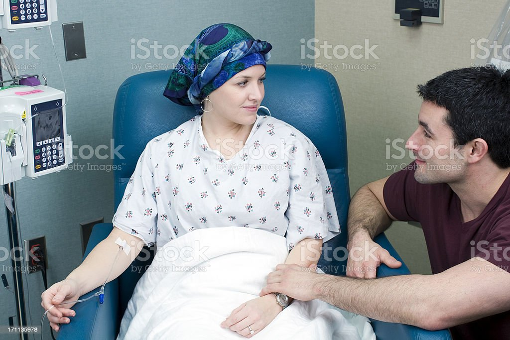 Woman Breast Cancer Patient Receiving Chemotherapy stock photo