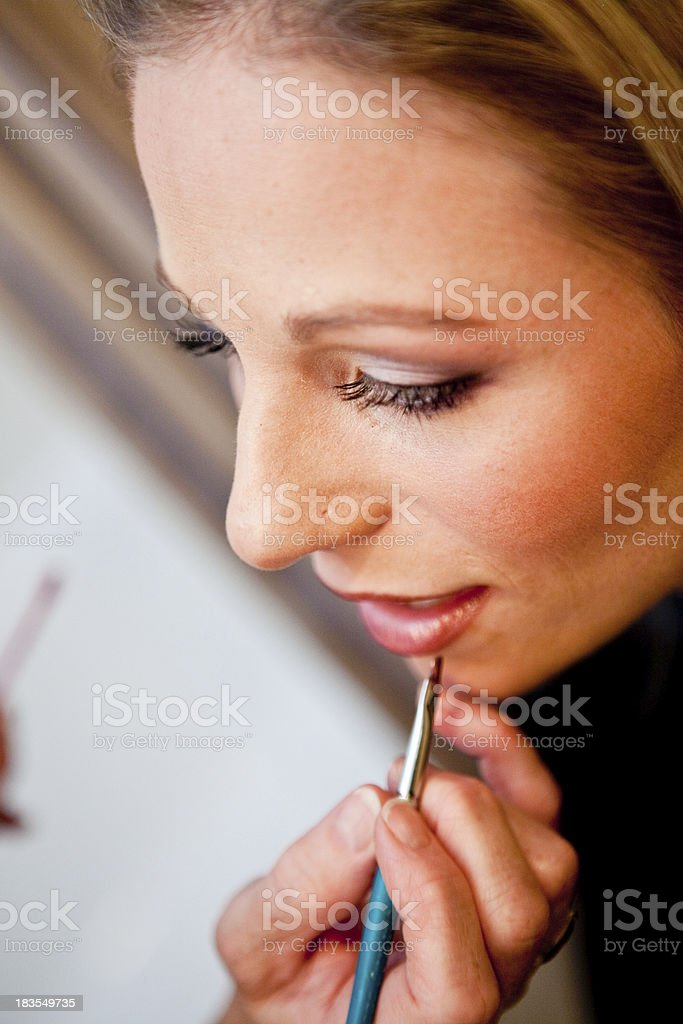 woman bride having make up makeup lipstick put on her stock photo
