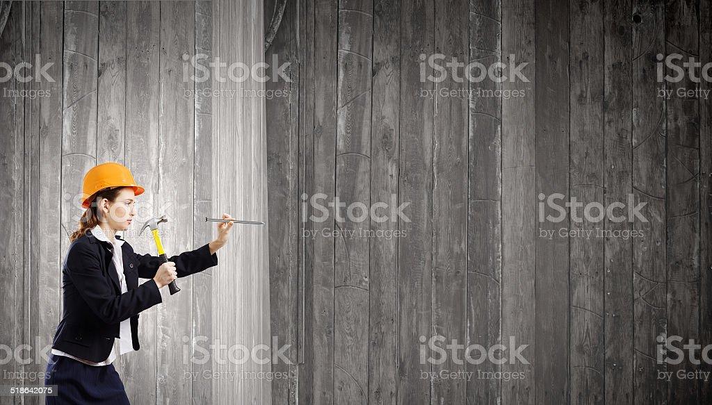 Woman builder stock photo
