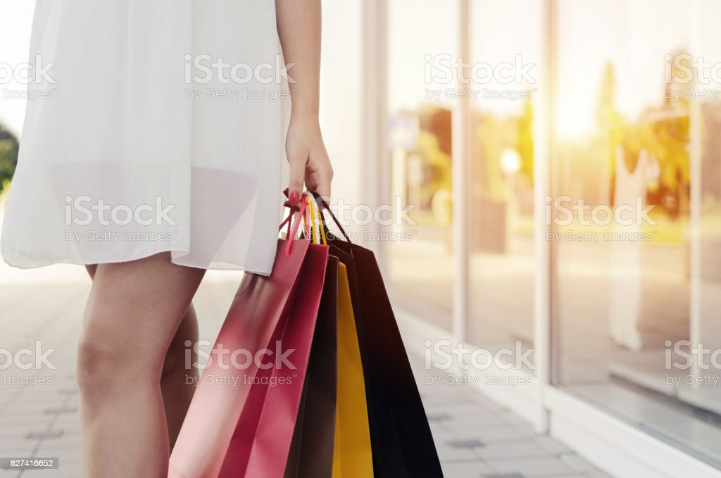 woman buy in second hand on sale stock photo
