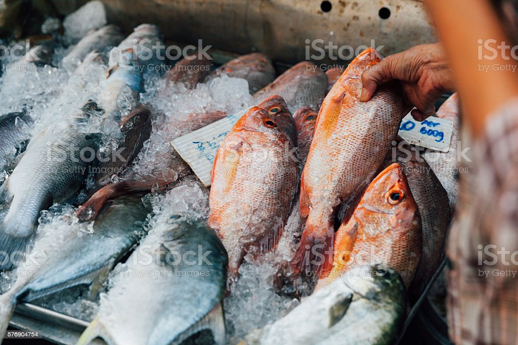 Woman buys seafood at the local market stock photo
