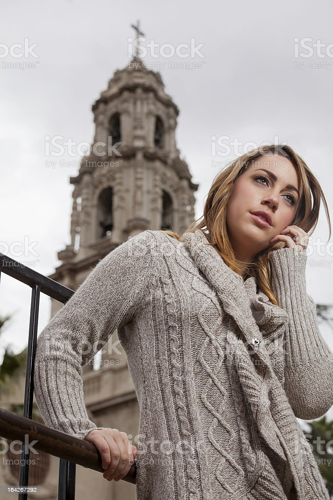 Woman by the church royalty-free stock photo