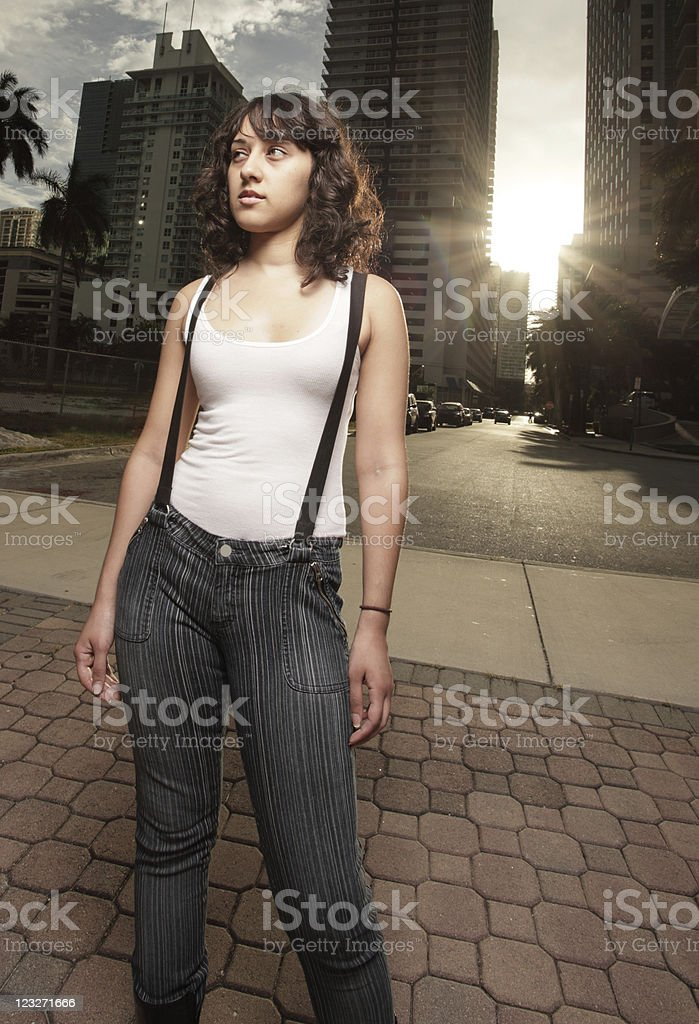 Woman by the city royalty-free stock photo
