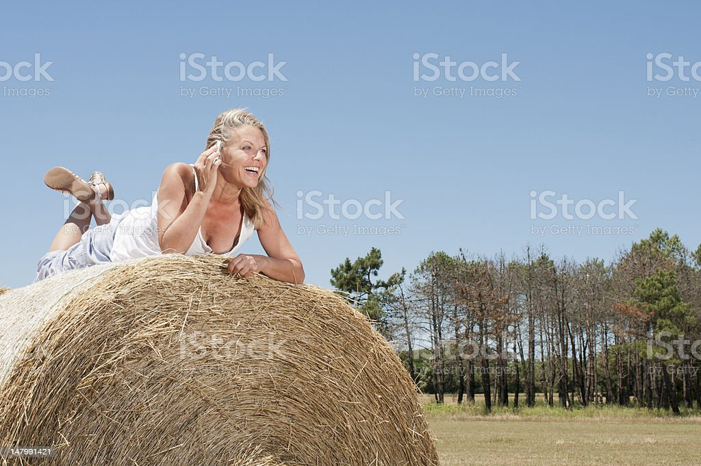Woman calling from the country side royalty-free stock photo