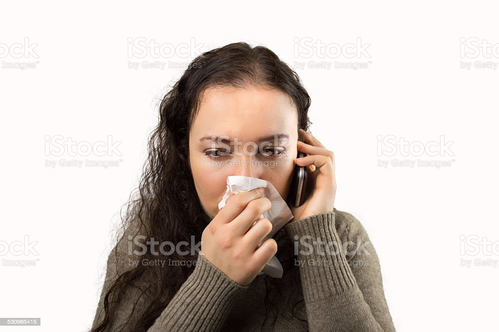 woman calling the doctor stock photo
