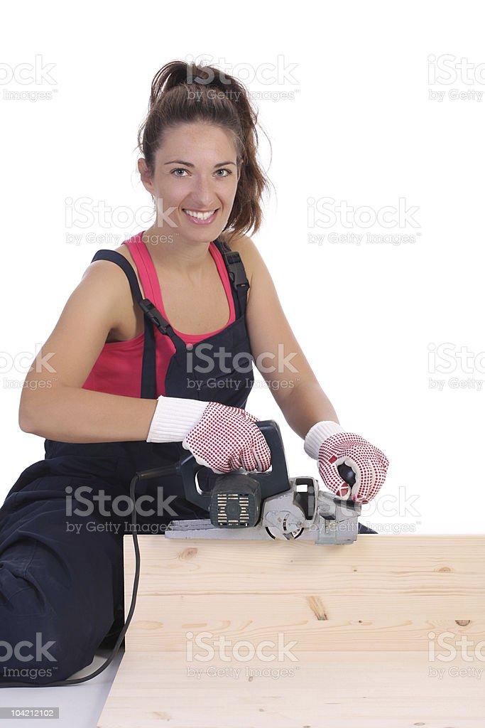 woman carpenter at work royalty-free stock photo