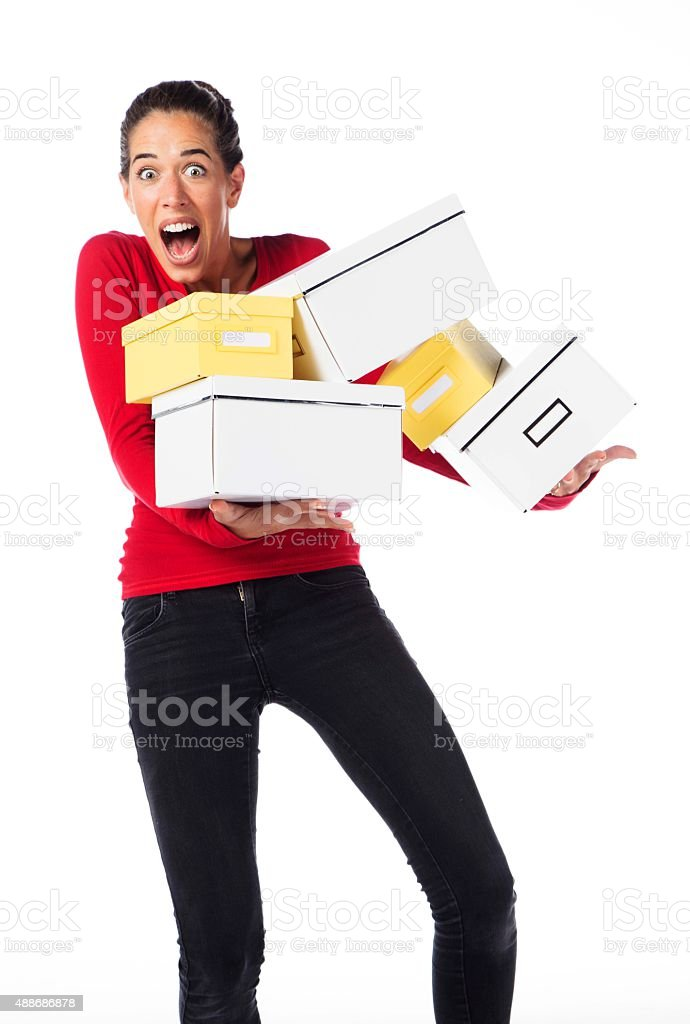 Woman Carrying Boxes stock photo