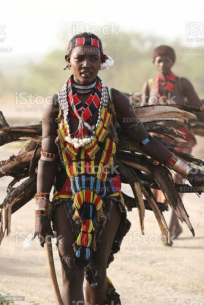 Woman Carrying Bundle Of Wood stock photo