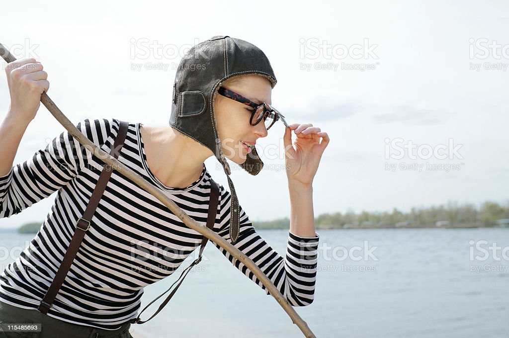woman catches a fish. stock photo