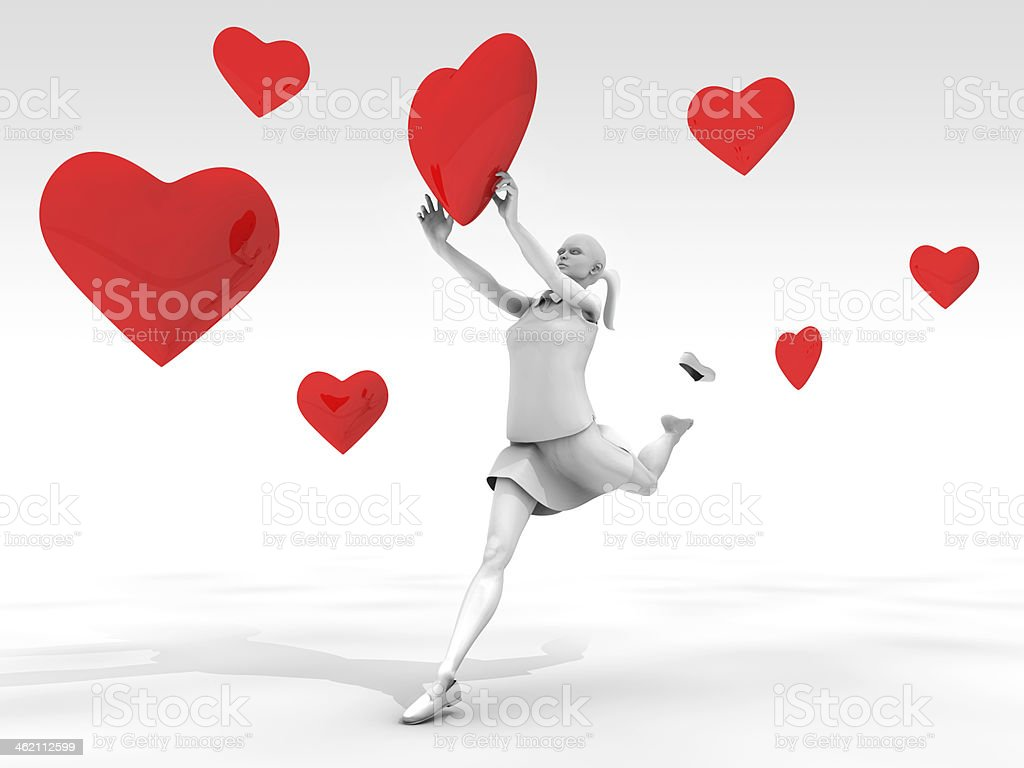 Woman Catching Hearts royalty-free stock photo