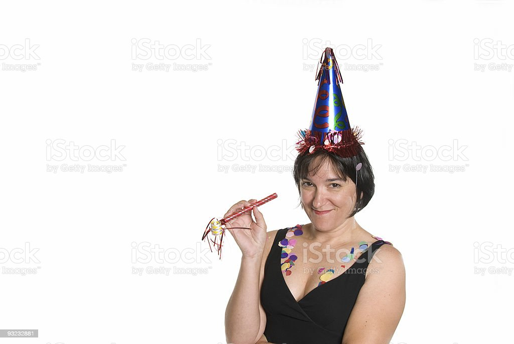Woman celebrating at a party royalty-free stock photo