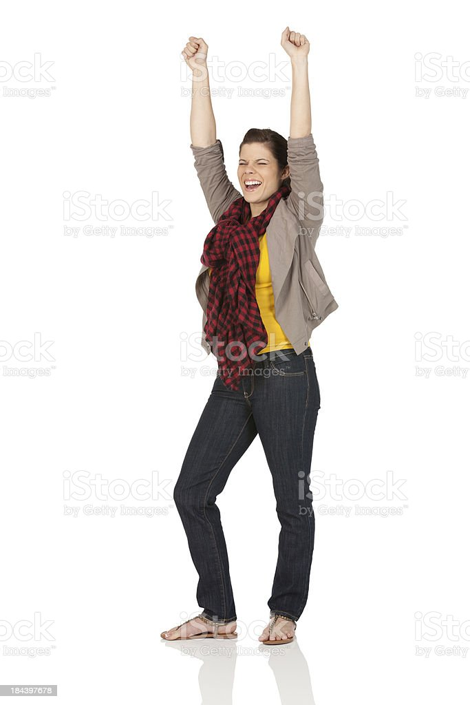 Woman celebrating her success royalty-free stock photo