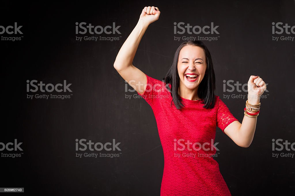 Woman celebrating her victory stock photo