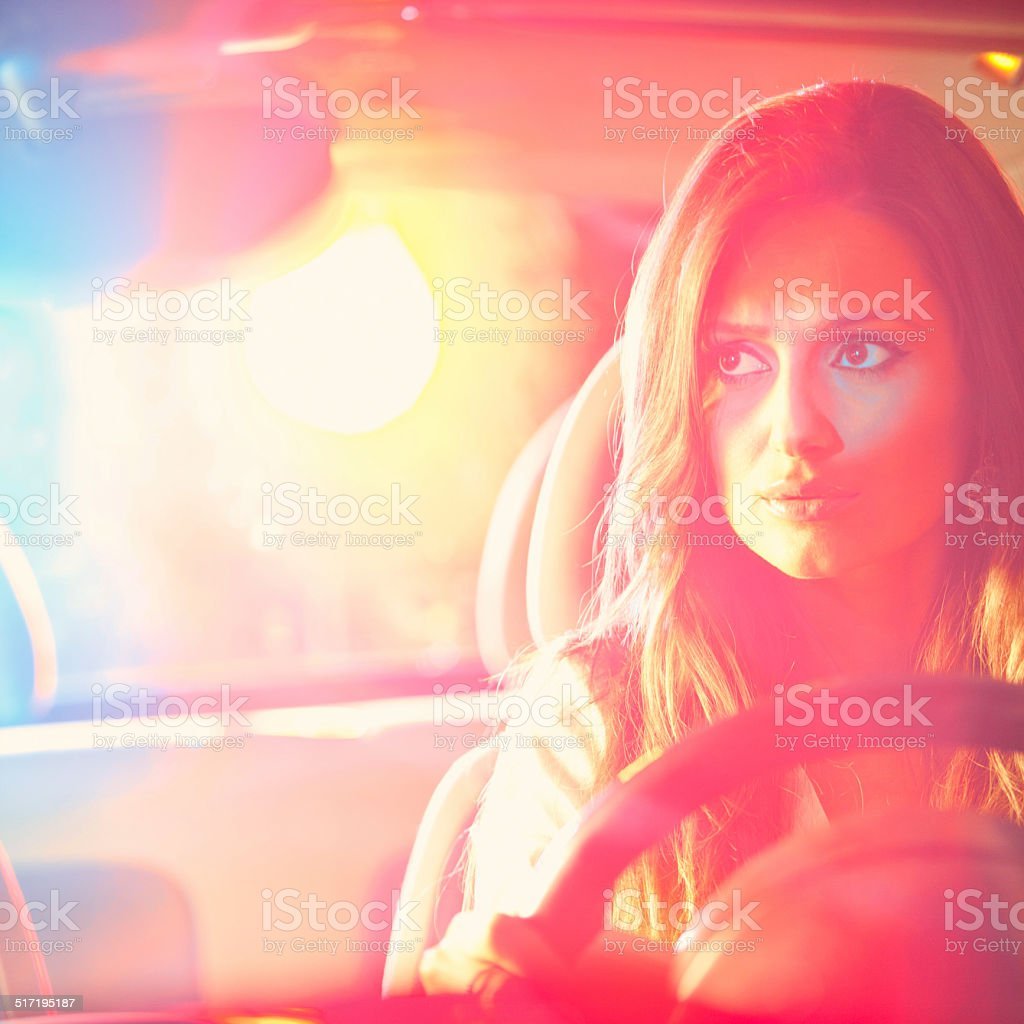 Woman chaced and pulled over by stock photo