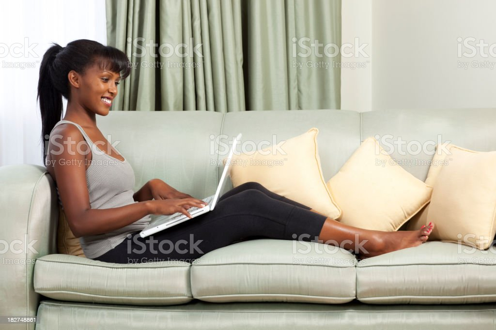 Woman checking email royalty-free stock photo