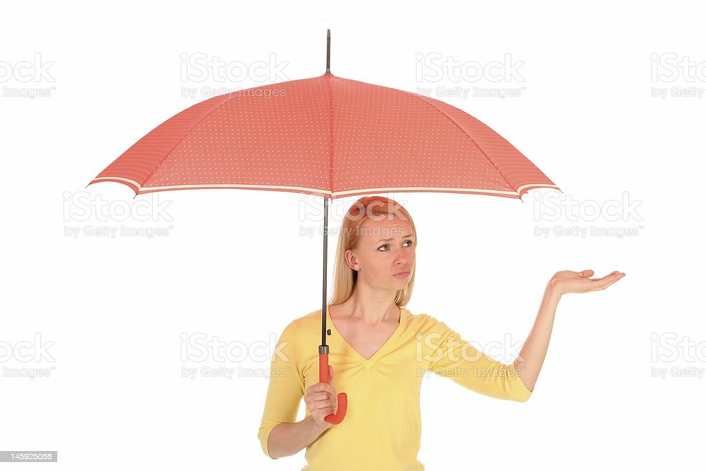 Woman Checking for Rain royalty-free stock photo