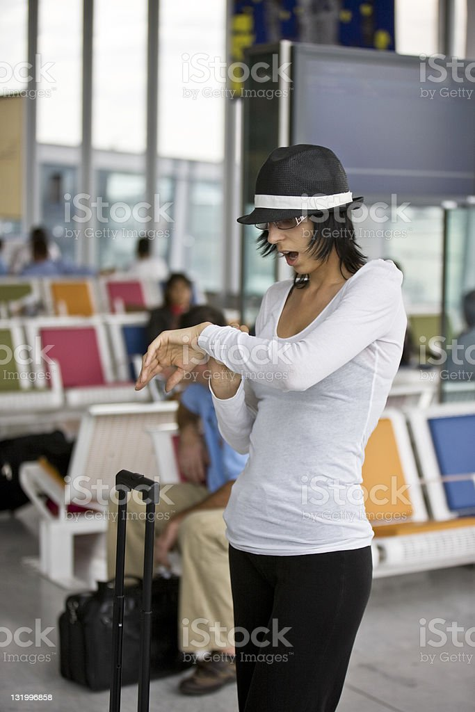 Woman Checking The Time royalty-free stock photo