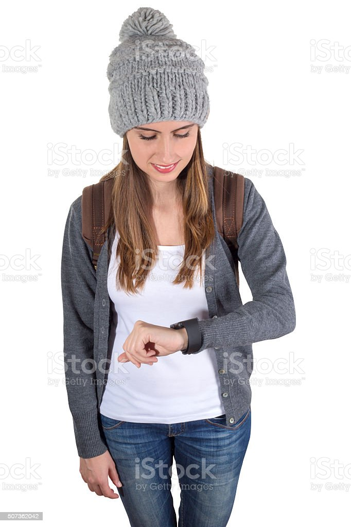 Woman Checking time stock photo