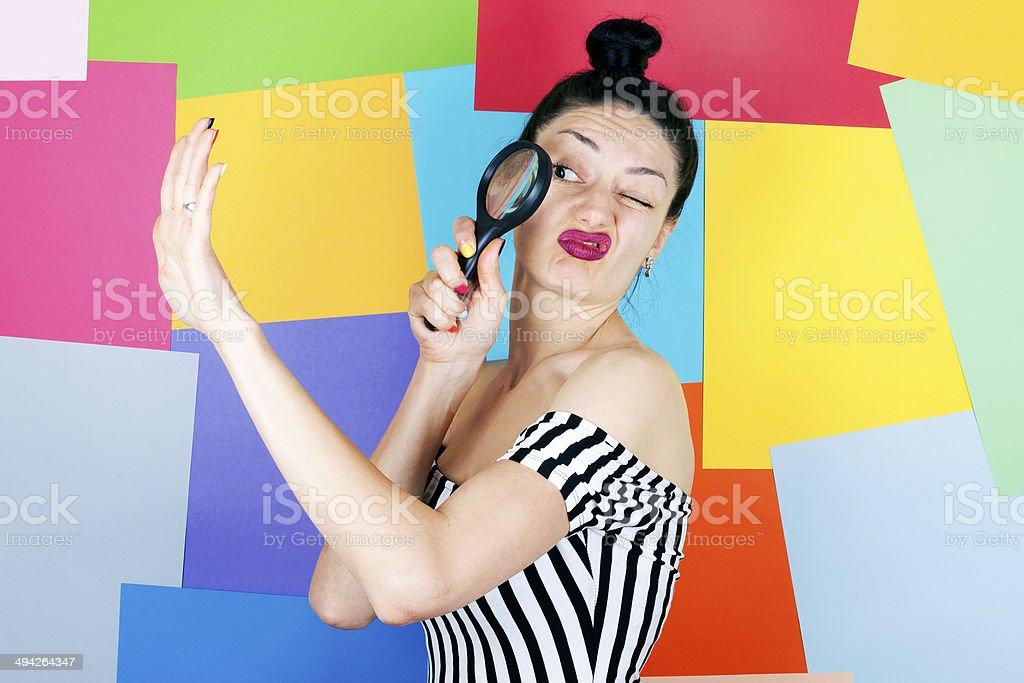 Woman Checks Her Ring stock photo