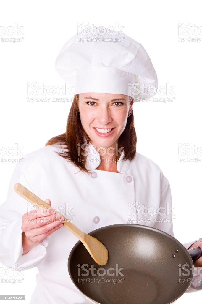 Woman Chef Against a White Background royalty-free stock photo