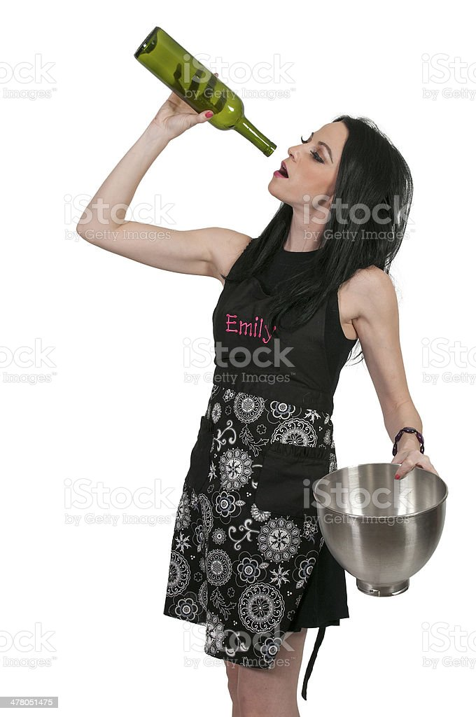 Woman Chef Drinking Wine royalty-free stock photo