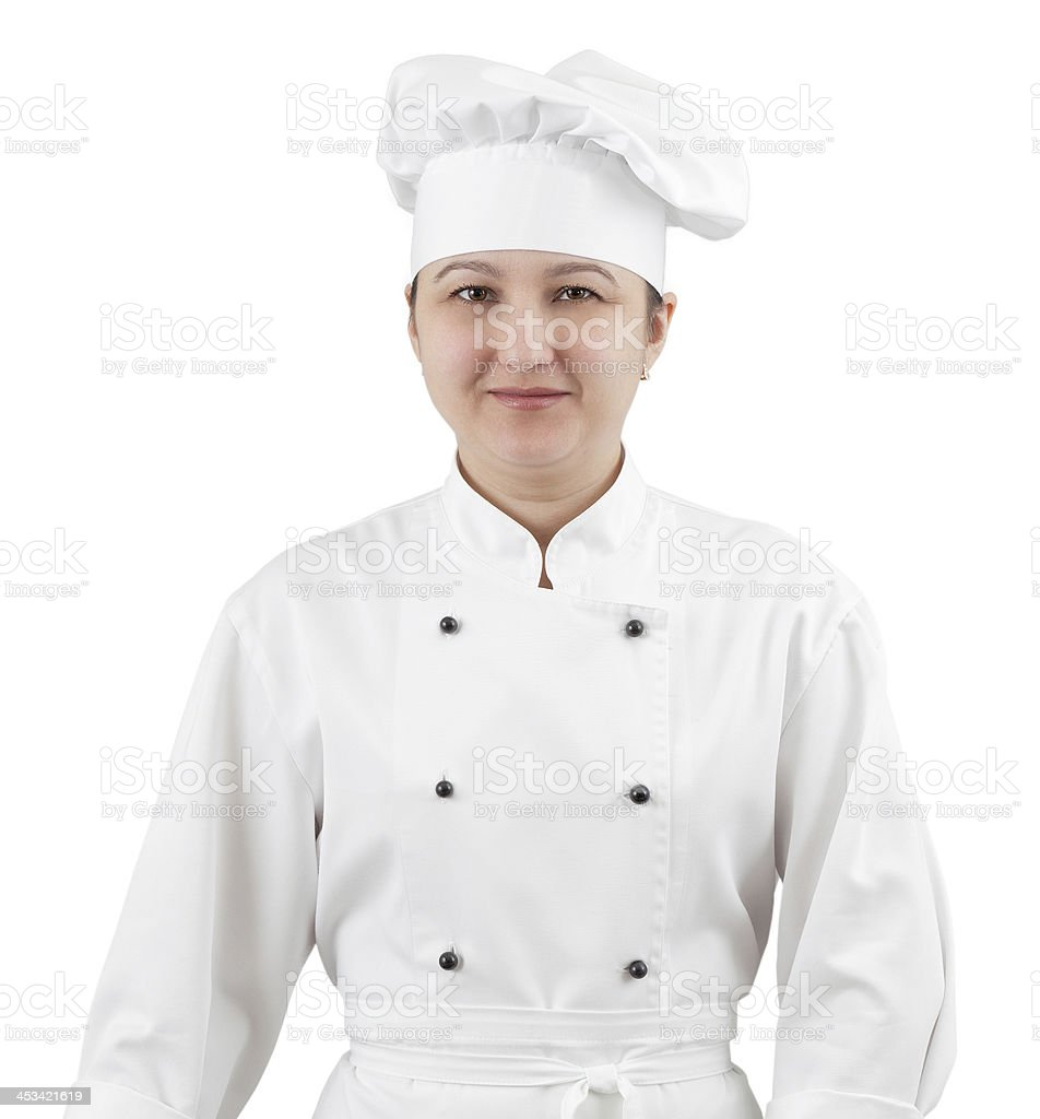 Woman chef in uniform isolated on white background. royalty-free stock photo