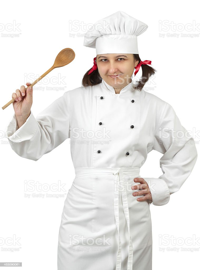 Woman chef in uniform royalty-free stock photo