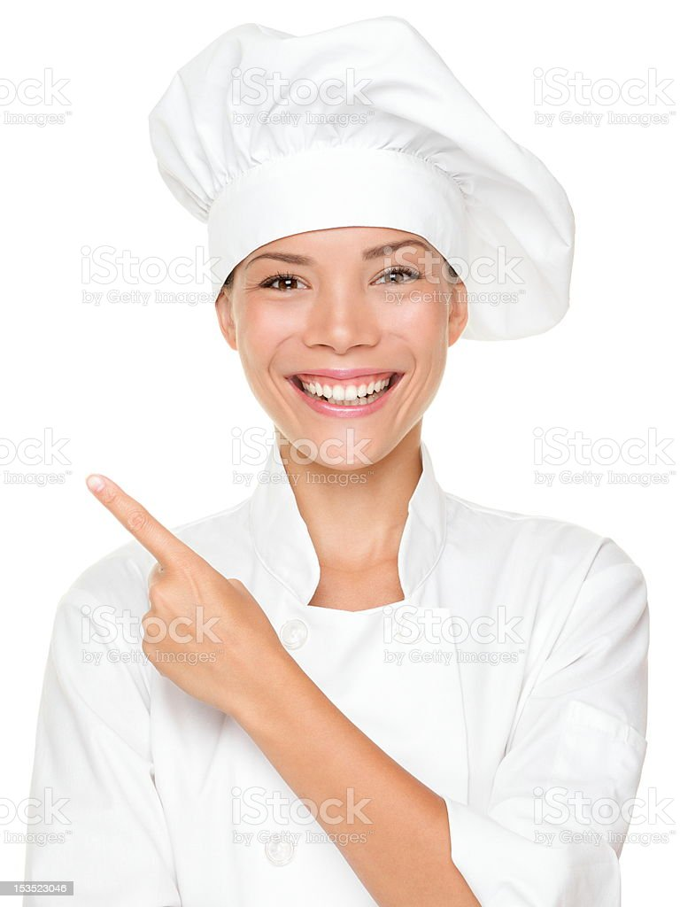 Woman chef pointing royalty-free stock photo