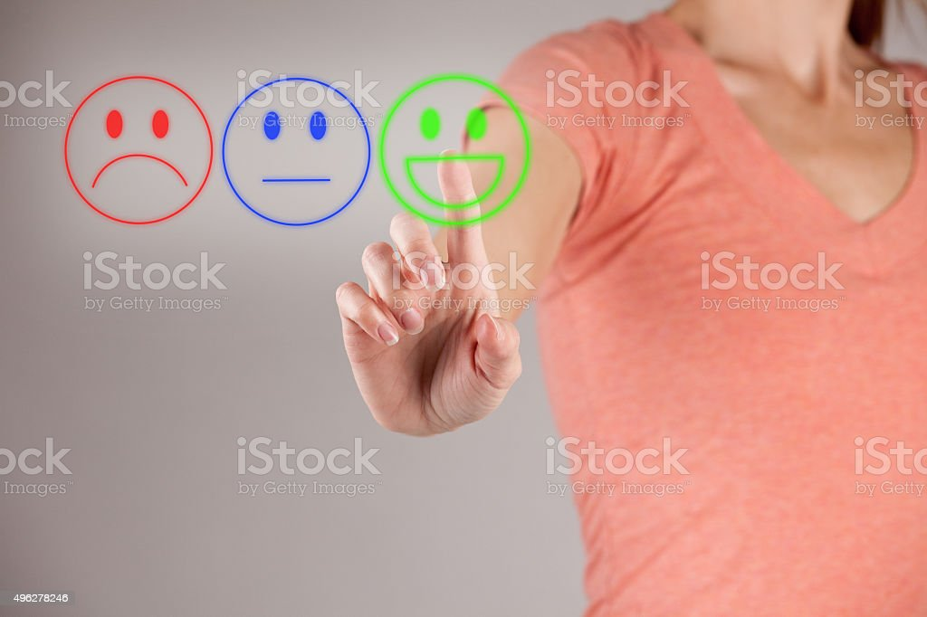 Woman Choosing Her Mood stock photo