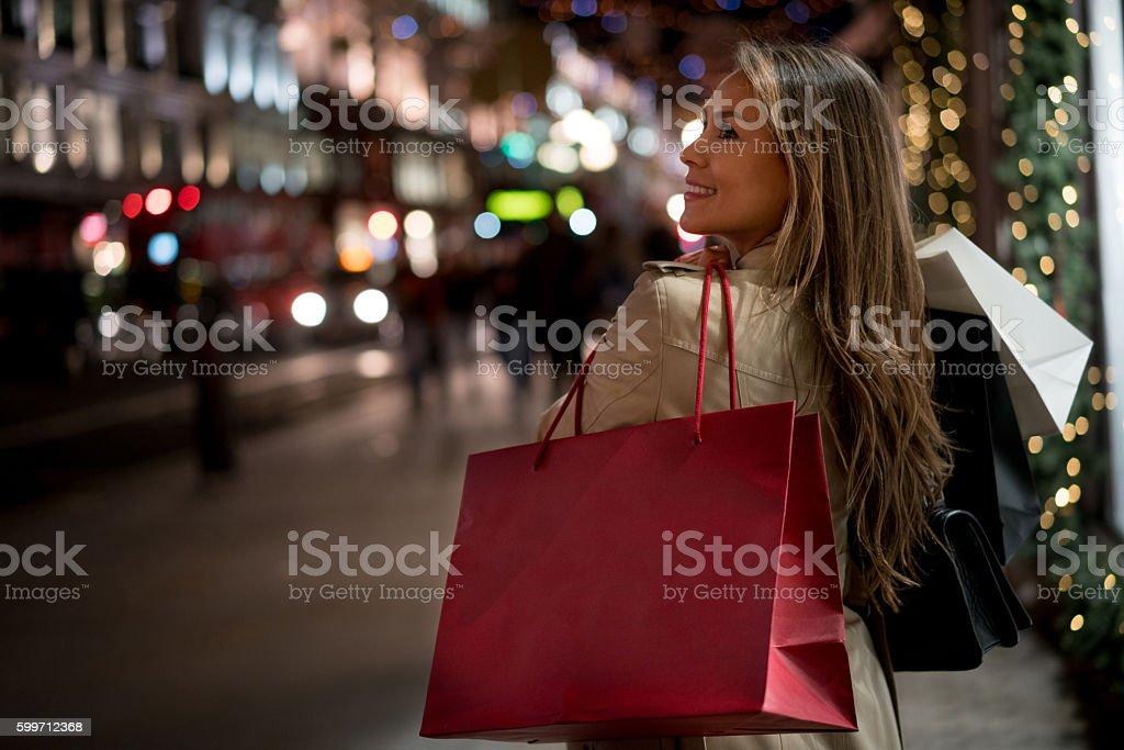 Woman Christmas shopping stock photo