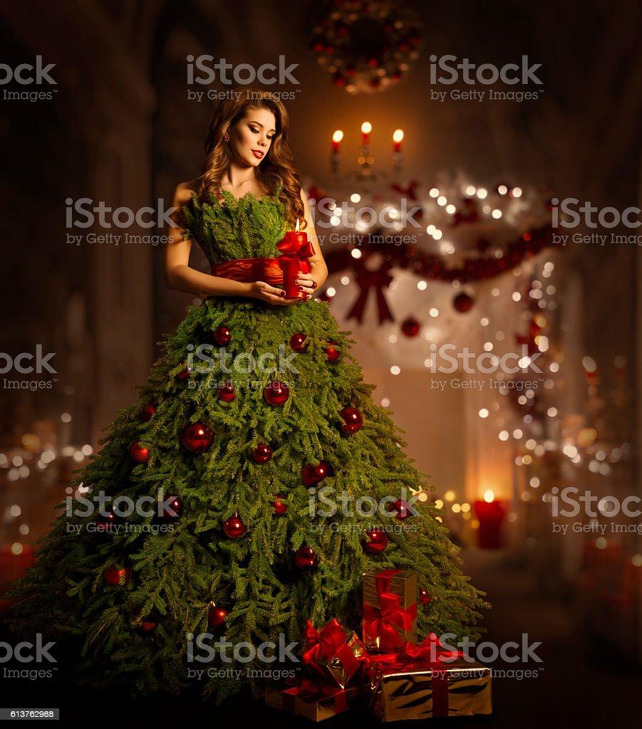 Woman Christmas Tree Dress, Fashion Model in Xmas Gown stock photo