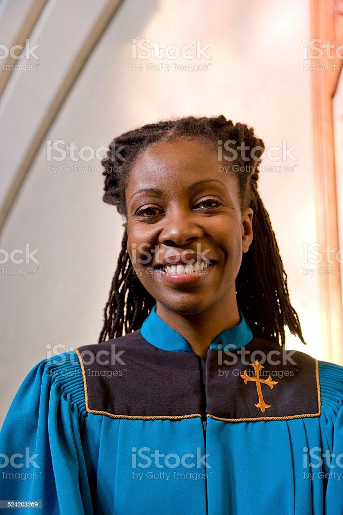 Woman Church Member Smiling stock photo