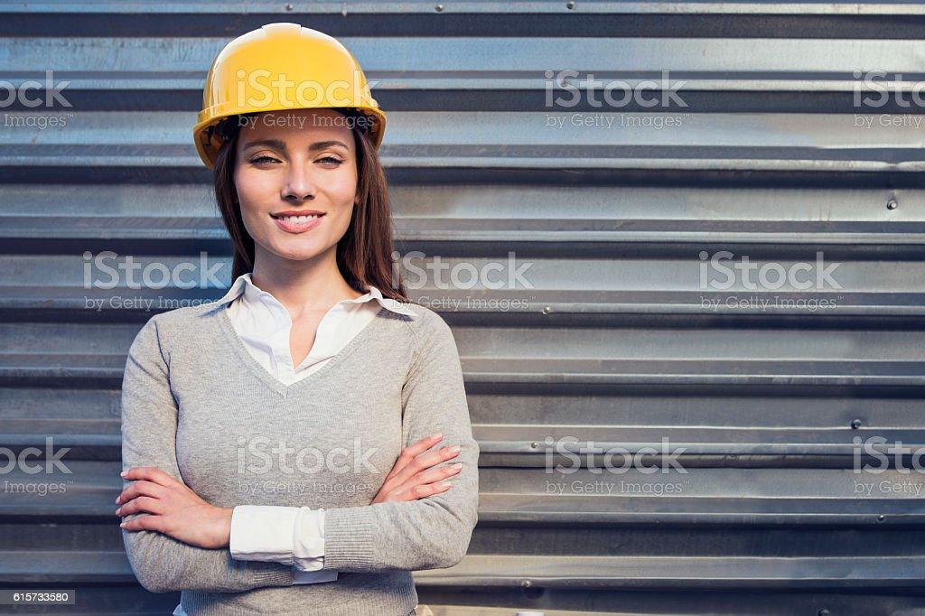 Woman civil engineer or architect stock photo