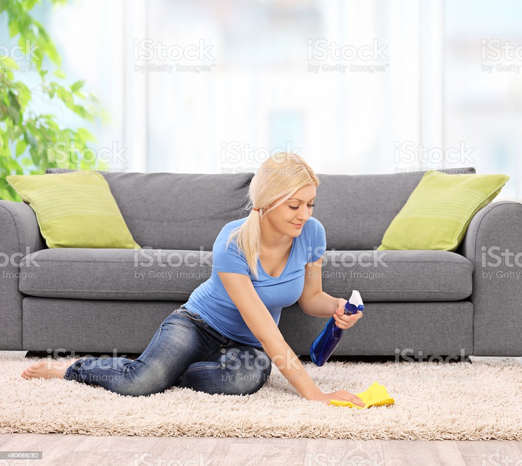 Woman cleaning a carpet with a rag at home stock photo
