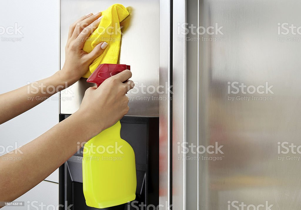 Woman Cleaning Stainless Steel Refrigerator Surface royalty-free stock photo