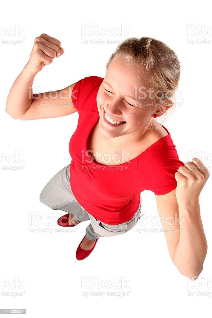 Woman clenching fists royalty-free stock photo