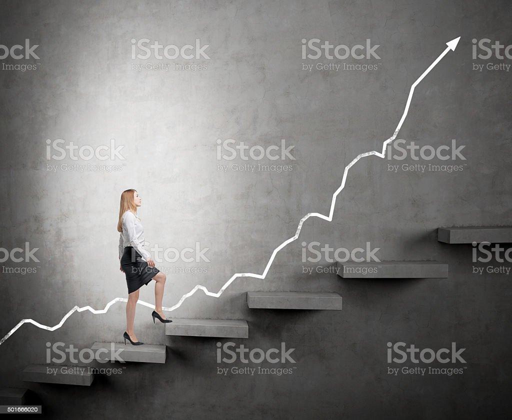 woman climbing a career ladder stock photo