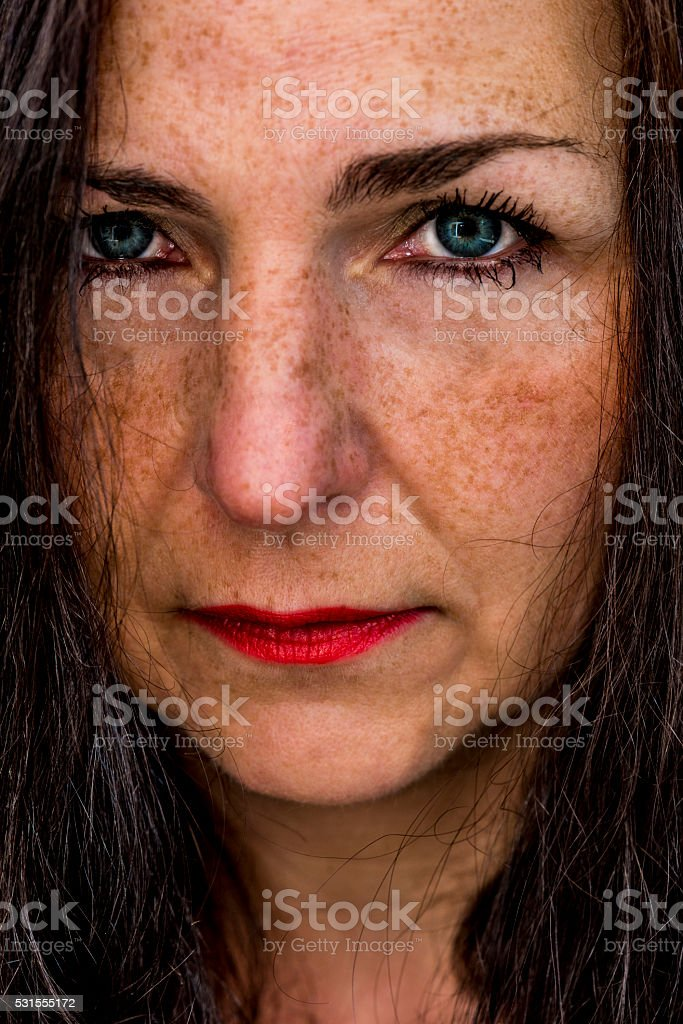 woman close up portrait stock photo