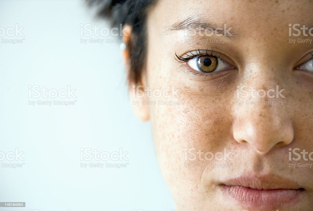 Woman close-up portrait stock photo