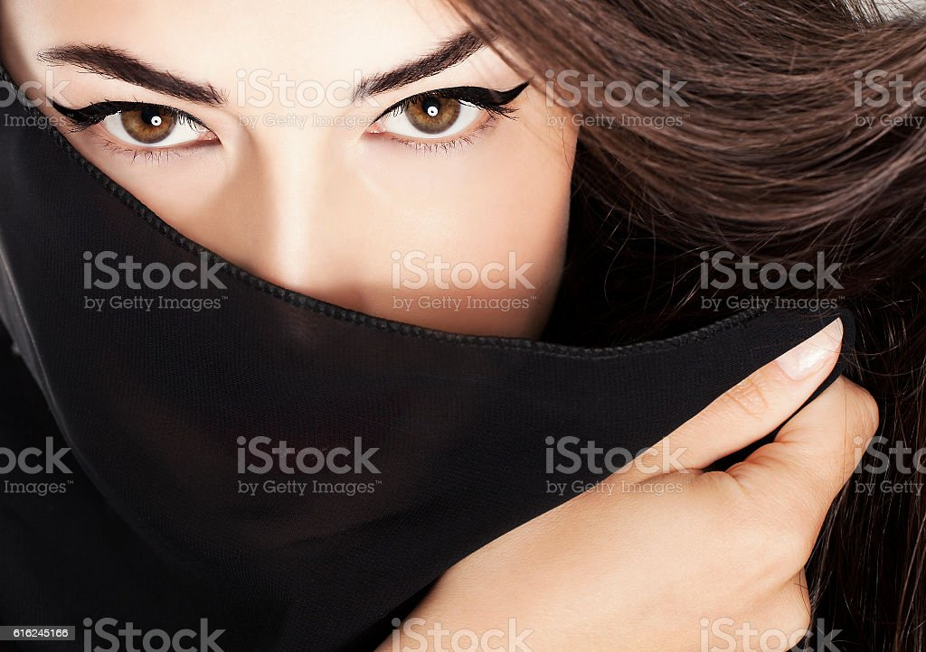 woman closeup portrait with expressive eyes stock photo