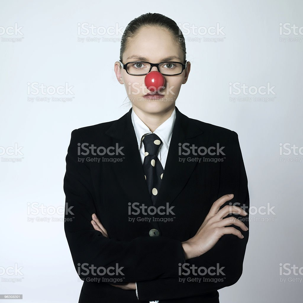 woman clown nose serious Humour pressure stock photo
