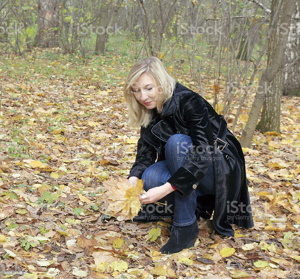 woman collecting autumn leaves in the park royalty-free stock photo