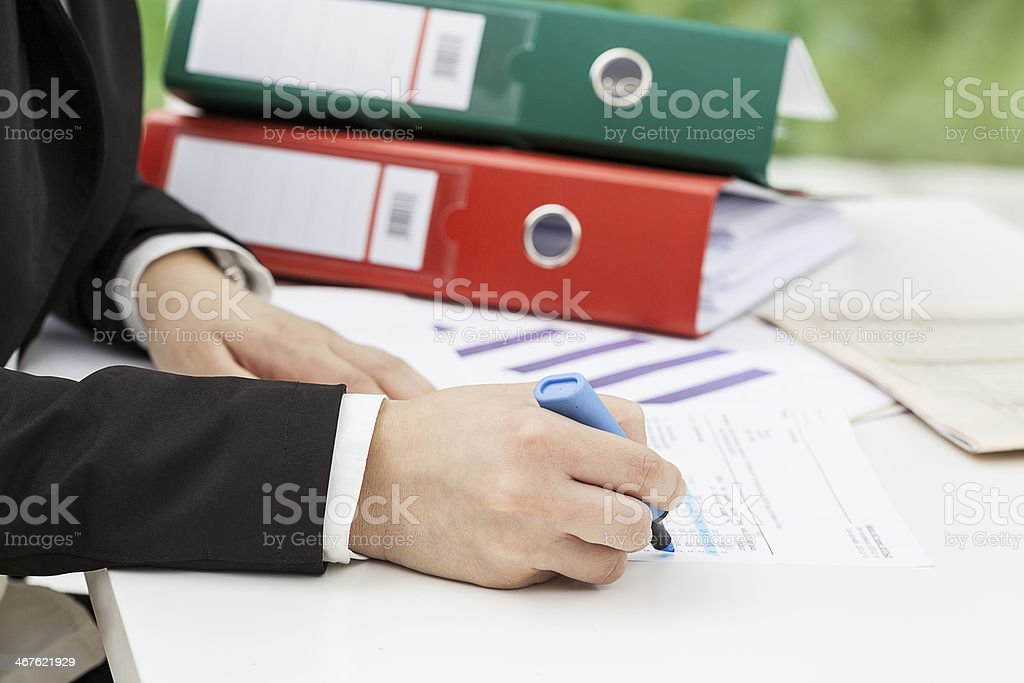 Woman collecting data stock photo