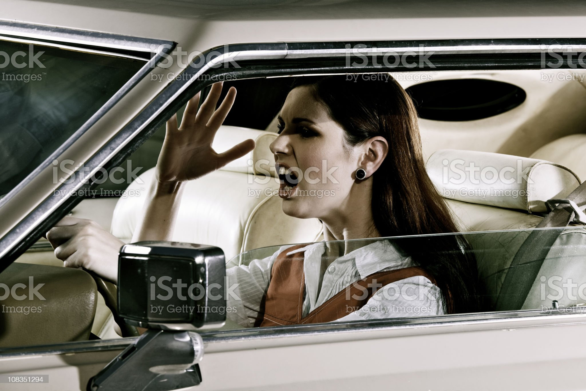 Woman commuting in traffic royalty-free stock photo