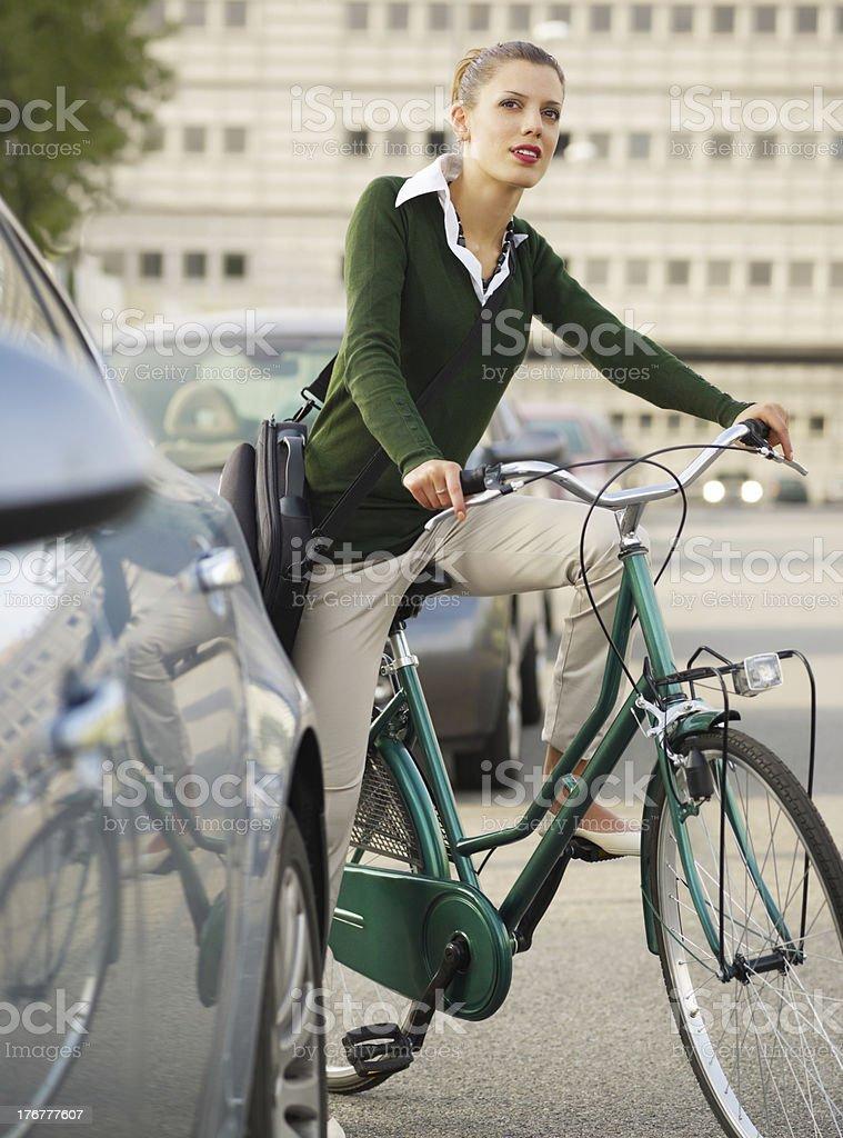 woman commuting royalty-free stock photo