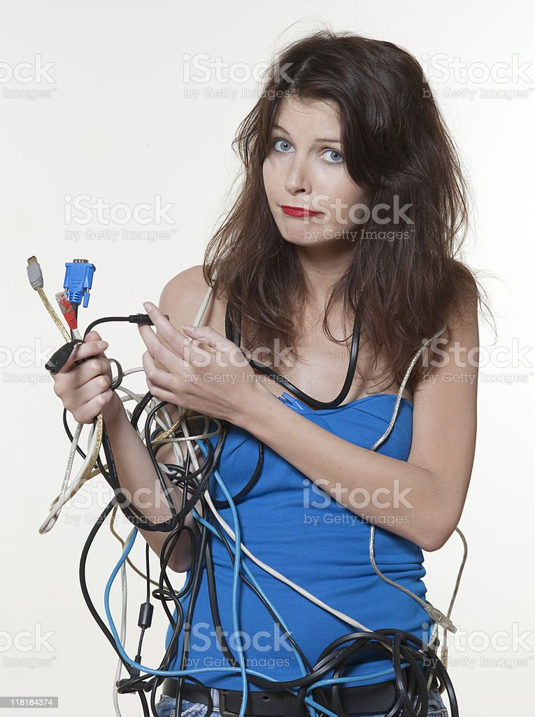 woman computer cable shamble royalty-free stock photo