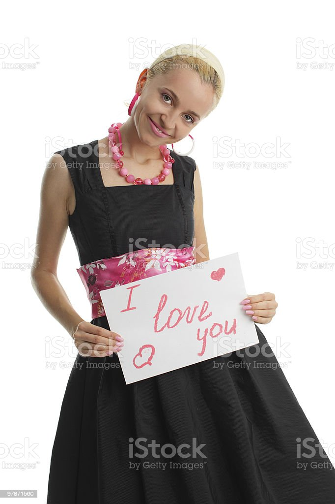 Woman congratulates with valentin's day stock photo